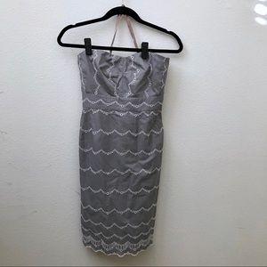 Jcrew gray eyelet embroidered strapless dress